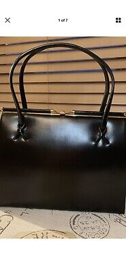 Black Real Leather 1960's Kelly Bag With Original Purse Suede Lining