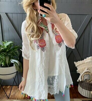 99ab4756a32786 1X NWT Embroidered Plus Size Floral Button Up White Tunic Blouse Top Women's