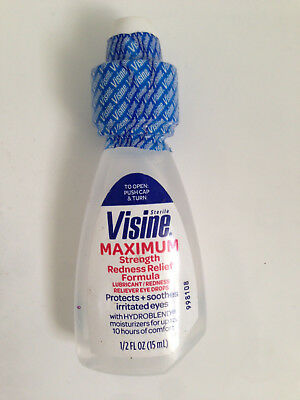 VISINE MAXIMUM STRENGTH REDNESS  RELIEF EYE DROPS 15ml 1/2 oz  NO BOX FREEPOST