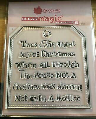 WOODWARE Clear Singles Stamps TWAS TAG FRS028 the night before CHRISTMAS Mouse