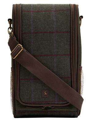 Joules Tweed Insulated Picnic Bottle Holder Drinks Bag - Green Tweed (SS19)
