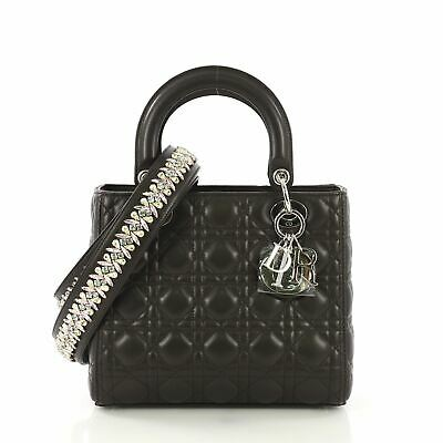 d7573abbdce Christian Dior Lady Dior Handbag with Embellished Strap Cannage Quilt  Leather