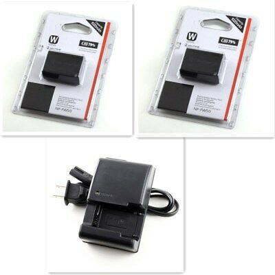 2pcs NP-FW50 Battery + Charger for Sony A6300, A6000, A5000, A3000, A7R, Alpha 7