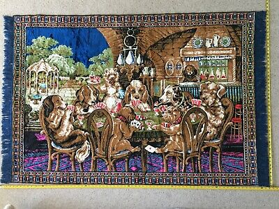 Vtg Tapestry Rug Dogs Playing Poker Texas Holdem Cards Wall Hanging Man Cave Bar