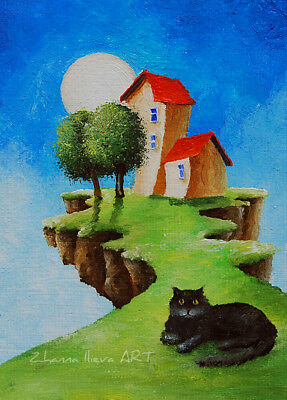 ORIGINAL FANTASY ACEO ART cat & MOON sky cityscape oil painting miniature