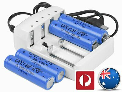 4 UltraFire 18650 Battery And Charger Rechargeable 5300mAh 3.7v 4 Slot CE A248