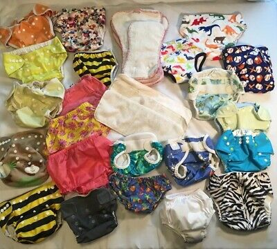 Lot Of 32 CLOTH DIAPER Items ~ Inserts Pocket Covers Snap Swimmers PottyTraining