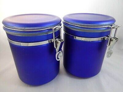 COBALT BLUE KITCHEN Canister Set With Pewter Rooster Tops ...
