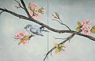 Original Bird & Blossom Watercolour and Acrylic Painting Signed by Artist