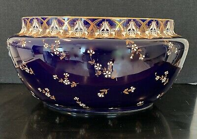 Beautiful Art Nouveau K.g. Luneville Painted Cobalt Blue Large Ceramic Planter