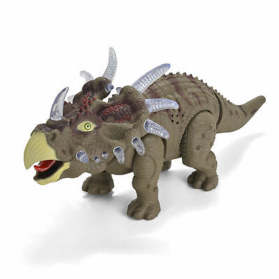 Walking Dinosaur Triceratops Toy with Many Lights Sounds Real Movement Figure