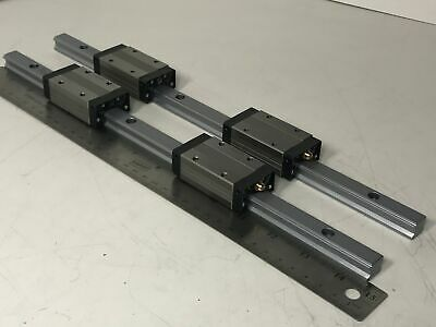 "Pair of THK SHS15V Caged Ball LM Linear Guide w/ 2 14.5"" Rails & 4 Blocks"