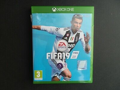 A boxed Xbox One FIFA19 football game.