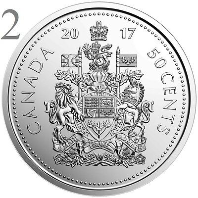 CANADA 2017 New 2x50 cents Coat of Arms of CANADA (BU directly from mint roll)