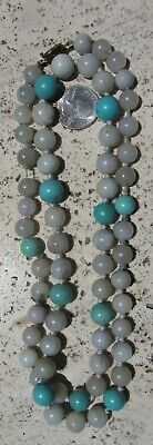 Antique Chinese Vermeil White Jade Large Bead Necklace Turquoise 134 Gram 34.5""