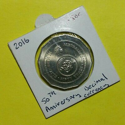 "2016 Fifty Cent Coin in Archive Holder – ""50th Anniversary Decimal Currency""."