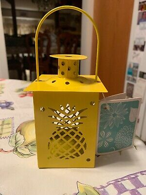 181a14db2a Yellow Pineapple Tealight Candle Holder Lantern w Handle Rare Brand New Tags
