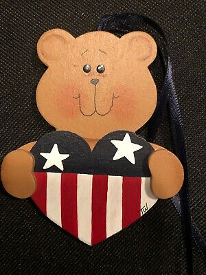 Custom Made Longaberger Bear with American Heart Tie-On