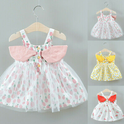 Summer Toddler Infant Kids Baby Girls Print Tulle Party Princess Dress Clothes
