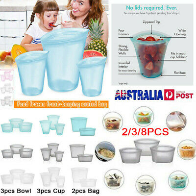 3/8Pcs Reusable Silicone Food Storage Bags Zip Top Leakproof Containers Stand AU