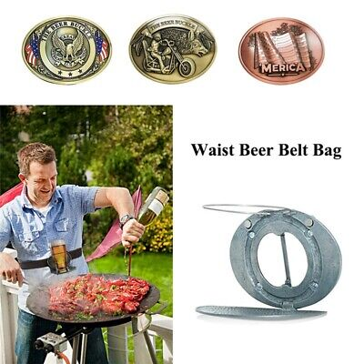 Outdoor Metal Beer Head Funny Bottle Belt Buckle for Camping Wine Can Holder