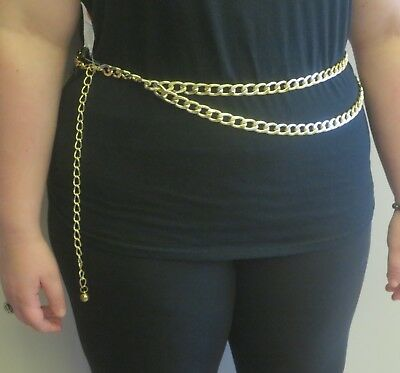 Yellow Gold DOUBLE DRIP CHAIN BELT Adjustable Metal Biker Style 4x PLUS SIZE 3X