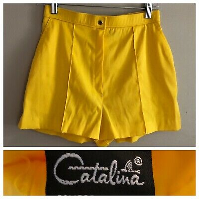 Vintage 1970s Yellow Catalina Shorts 70s Hot Pants Size 12