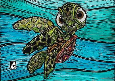 Finding Nemo Original ACEO Turtle Scratchboard Painting Art card aznative68