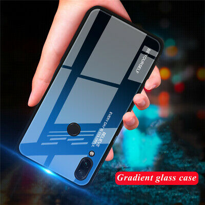 For Xiaomi Redmi 7 Note 7 Luxury Gradient Tempered Glass Hard Back Case Cover