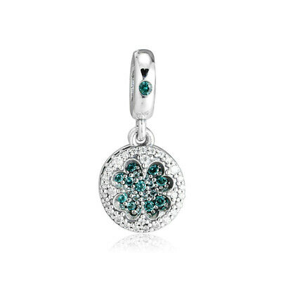 7d2d0118c Authentic s925 Sterling Silver Dazzling Clover Dangle Charm with Green CZ  Beads