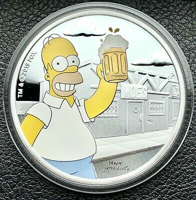2019 The Simpsons Homer Simpson Colorized 1 oz Proof .999 Fine Silver Art Coin