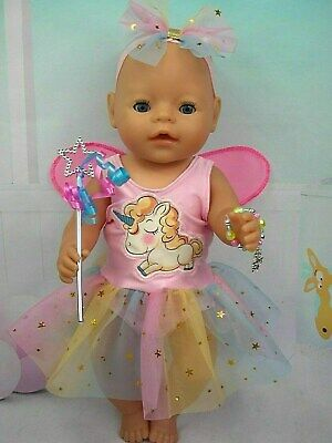 "Dolls clothes for 17"" Baby Born doll~UNICORN RAINBOW FAIRY DRESS AND ACCESSORIES"