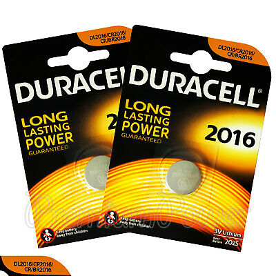 2 x Duracell Lithium Coin Cell batteries CR2016 DL2016 BR2016 3V