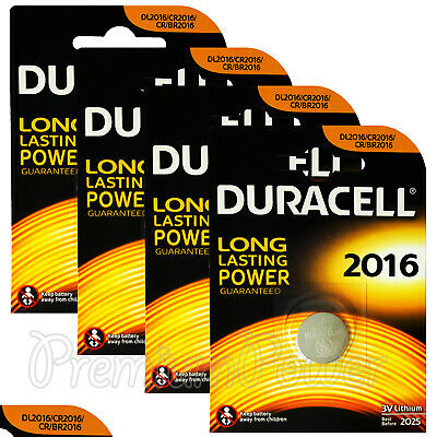 4 x Duracell Lithium Coin Cell batteries CR2016 DL2016 BR2016 3V