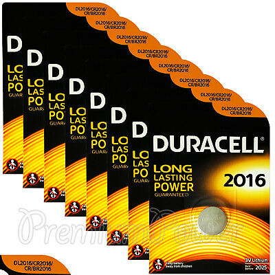 8 x Duracell Lithium Coin Cell batteries CR2016 DL2016 BR2016 3V