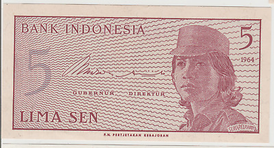 BANK INDONESIA LIMA SEN 5 BANKNOTE 1964 UNC FREE Postage