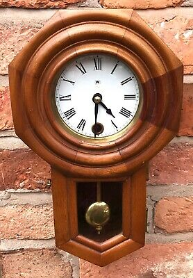 Beautiful Vintage Minature Drop Dial Wall Clock In Wooden Case With Pendulum Key