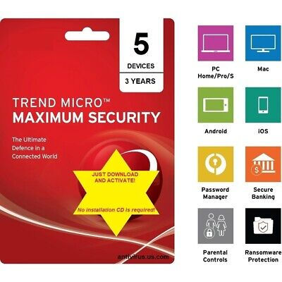 Trend Micro Maximum Security - Version 15 for 2019 (3 Years for 5 Devices!)