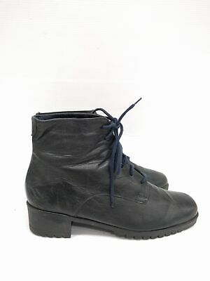 Size 8 Vintage Ladies Classic 90s Grunge Granny Lace up Leather Ankle boots
