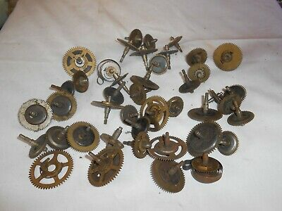 Job Lot Of 43 Vintage Clock Spring Wheel Arbours And 2 Mainsprings 500 Grammes