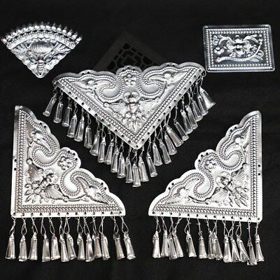 China's Ancient costume Handmade Miao Silver clothing Silver film set