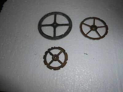 Three Antique Brass Countwheels  For French Strike Clocks Sold As Spares.