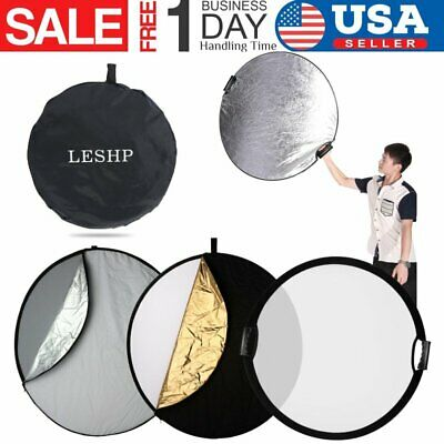 """LESHP 110cm 43"""" 5in1 Light Mulit Collapsible Portable Handheld Reflector Disc US"""