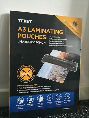 Texet A3 Laminating Pouches | Pack Of 100 Pouches | 150 micron