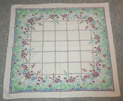 Vtg Tablecloth Luncheon 45 x 50 Red Blue Green Floral