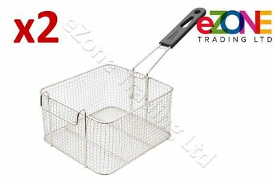 2 Small Frying Basket Chip Fish Takeaway Deep Fat Commercial Fryer 210x180x110mm