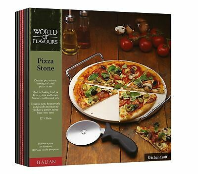 Kitchencraft World Of Flavours Round Ceramic Pizza Stone And Pizza Cutter Wheel