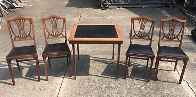 Vtg Leg-O-Matic Wooden Folding Table 4 Chairs Mid Century Shield Back Wood GUC!