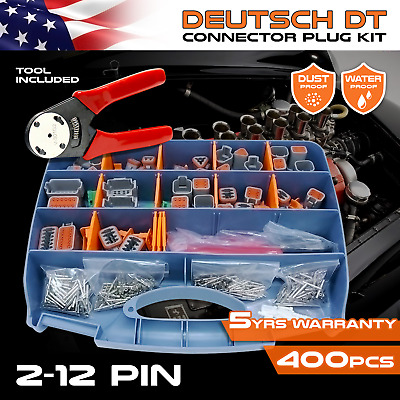 384 PCS DEUTSCH DT Connector Kit with crimping & removal pin tools