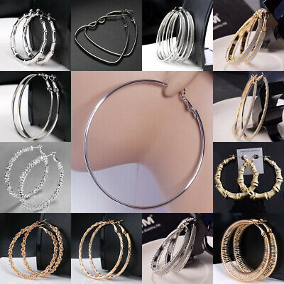 Silver Gold Large Round Hoop Earrings Shiny Fab Big Gypsy Hoops Jewelry